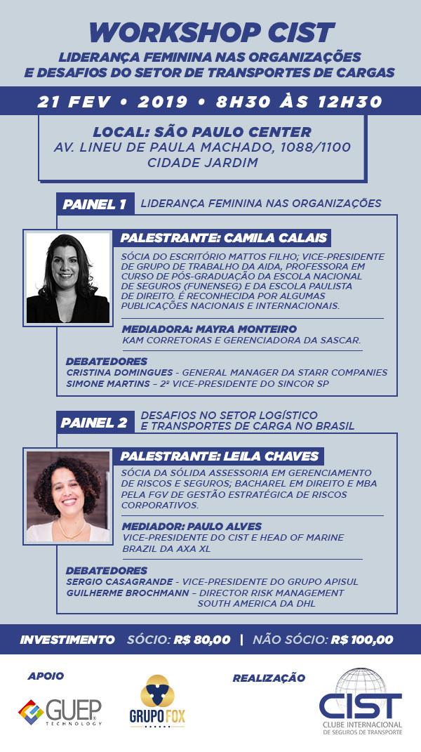 Workshop CIST - Liderança feminina nas organizações e desafios do setor de transporte de cargas